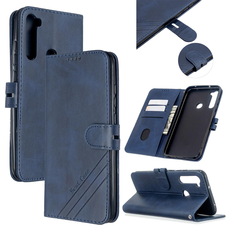 For Redmi Note 8T/Redmi 8/Redmi 8A Case Soft Leather Cover with Denim Texture Precise Cutouts Wallet Design Buckle Closure Smartphone Shell  blue
