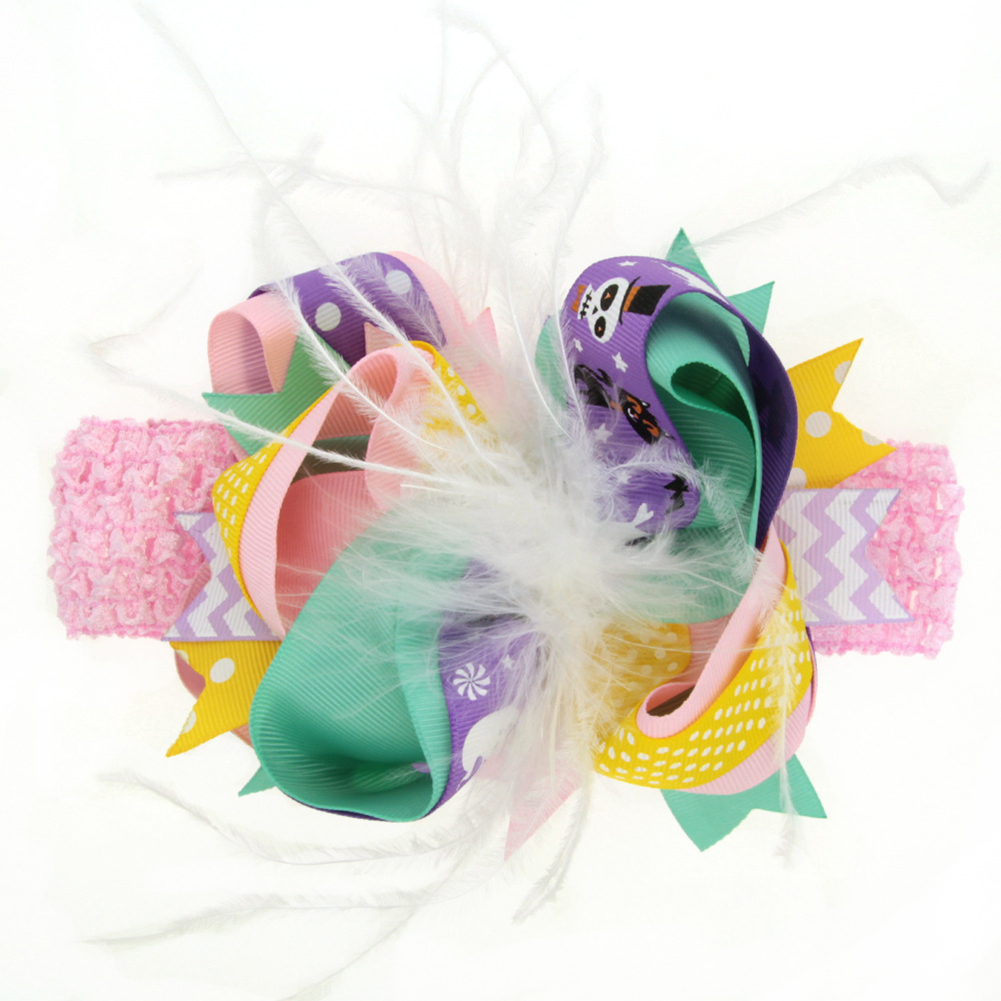 Children Delicate Feather Bowknot Hair Clip Hair Band Dual Use Clothes Dress Accessories