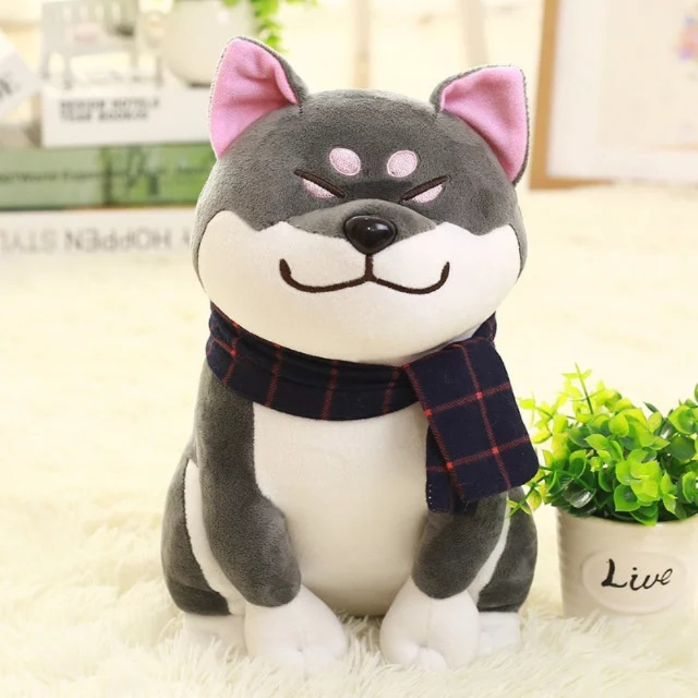 45cm Small Plush Akita Dog Stuffed Puppy Dog Toy for Kids Gift Home Decoration black