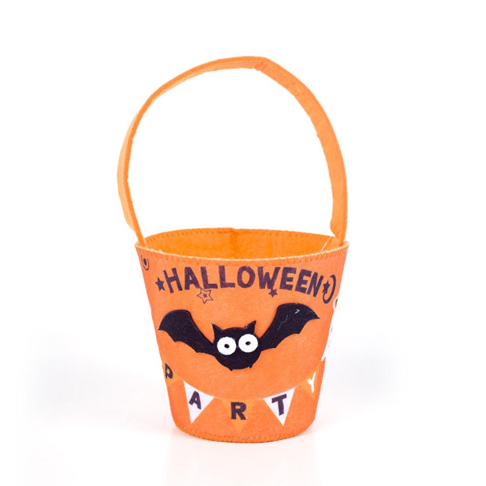 Halloween Candy Bags Decorations Clotn Art Felt Children's Hand Held Bag Candy Basket Yellow bat
