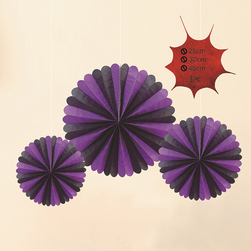 3pcs Halloween Hanging Paper Fans Ghost Decoration Bars Festval  Black and purple [containing three large, medium and small]