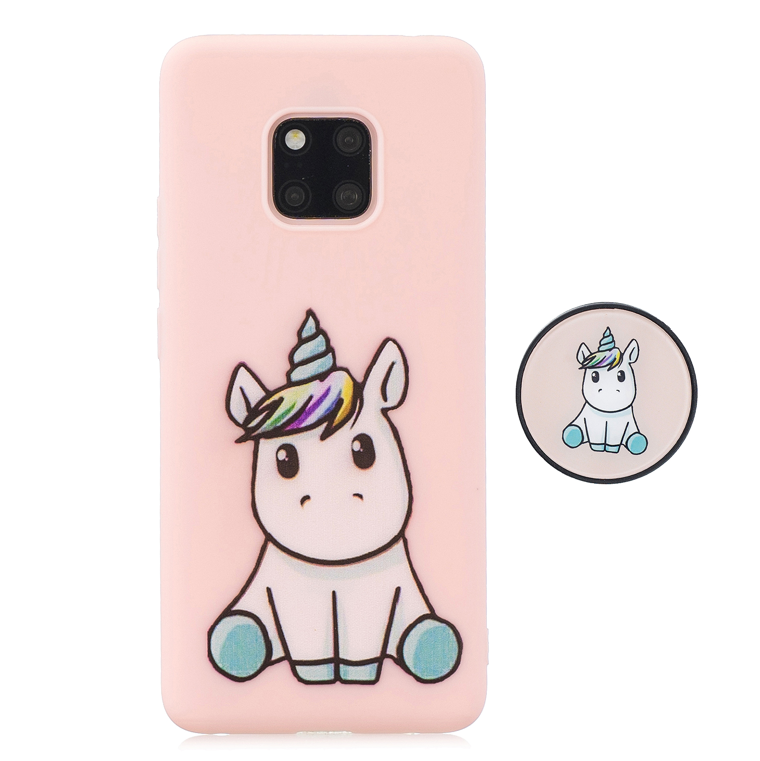 For HUAWEI MATE 20 pro Pure Color Phone Cover Cute Cartoon Phone Case Lightweight Soft TPU Phone Case with Matching Pattern Adjustable Bracket 6