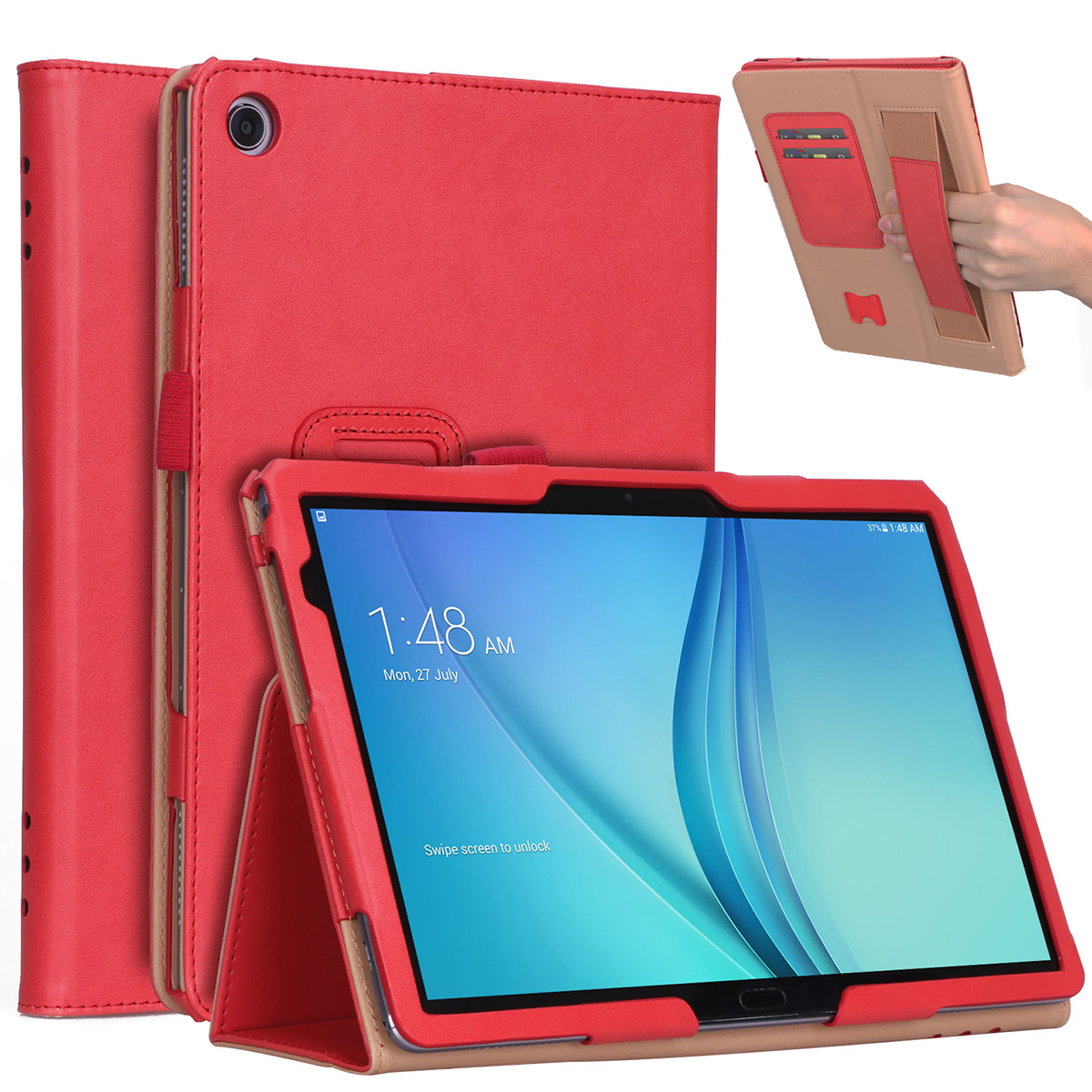 For HUAWEI M5 lite 10.1 Retro Pattern PU Leather Protective Case with Hand Support Pen Slot Sleep Function red_HUAWEI M5 lite 10.1