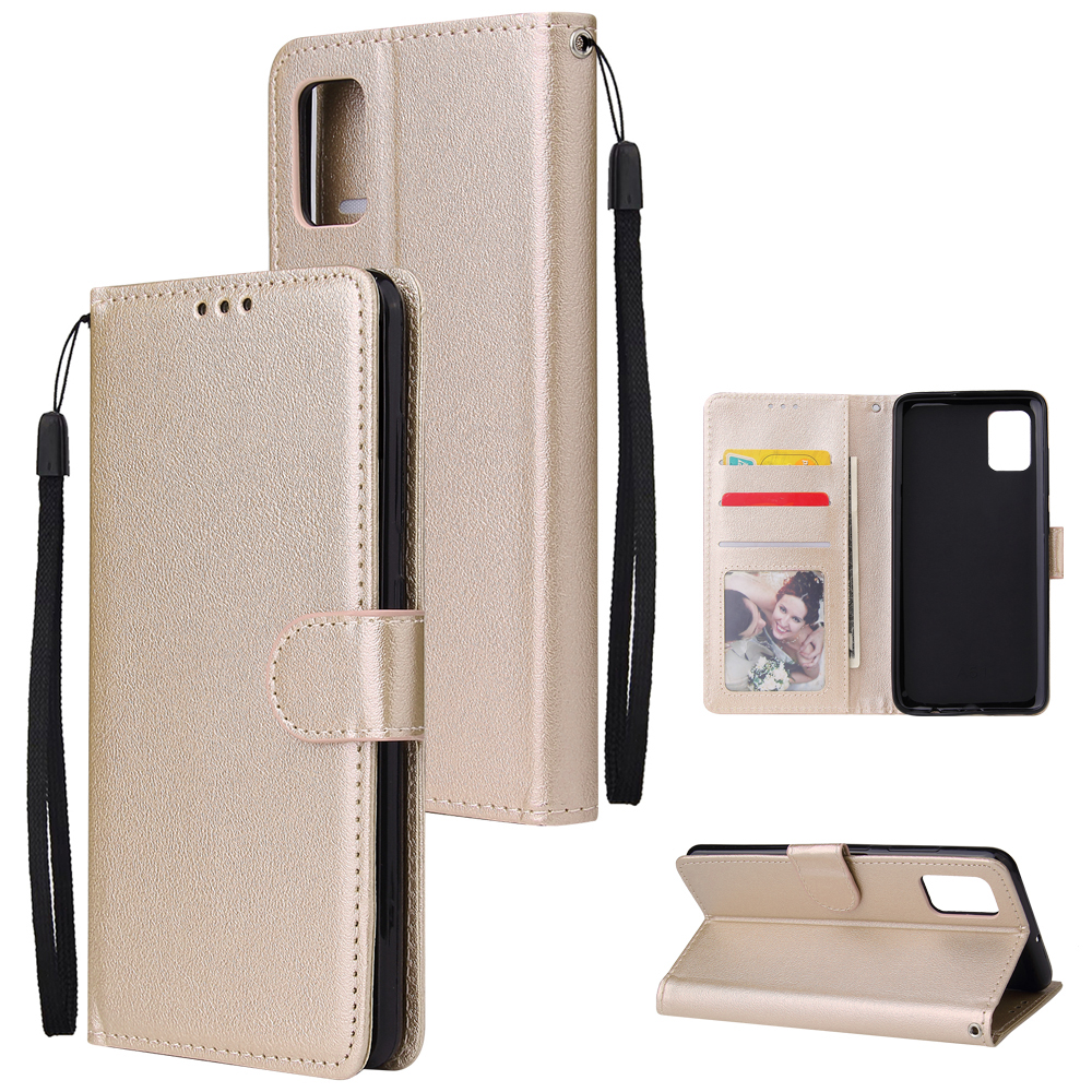 For Samsung A51 Phone Case PU Leather Shell All-round Protection Precise Cutout Wallet Design Cellphone Cover  Gold