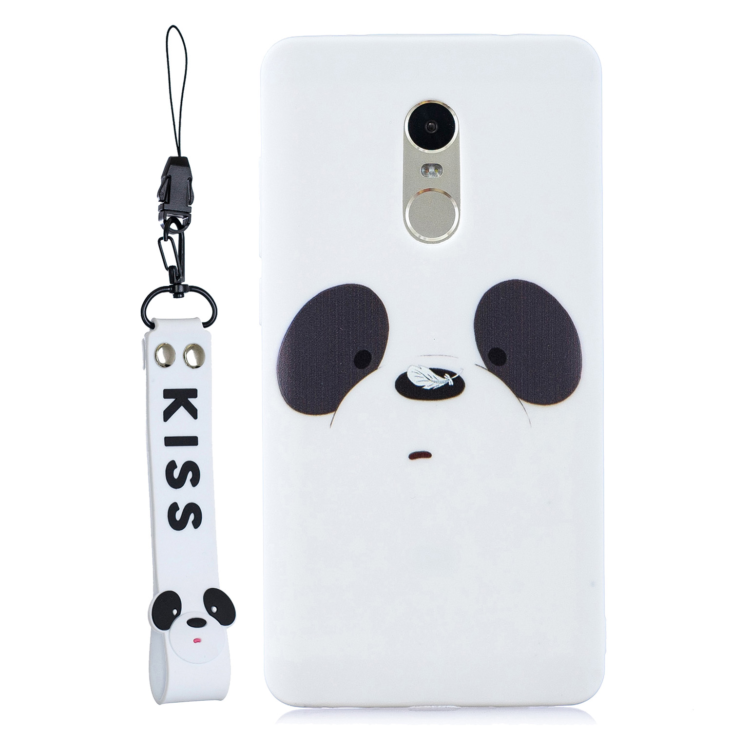 For Redmi note 4X/NOTE 4 Cartoon Lovely Coloured Painted Soft TPU Back Cover Non-slip Shockproof Full Protective Case with Lanyard white