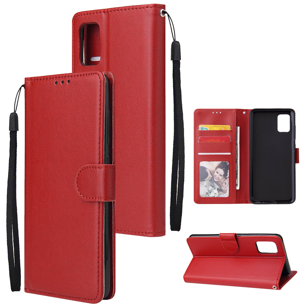 For Samsung A51 Phone Case PU Leather Shell All-round Protection Precise Cutout Wallet Design Cellphone Cover  Red