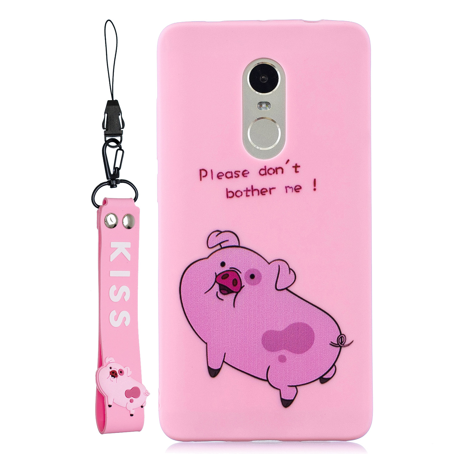 For Redmi note 4X/NOTE 4 Cartoon Lovely Coloured Painted Soft TPU Back Cover Non-slip Shockproof Full Protective Case with Lanyard Rose red