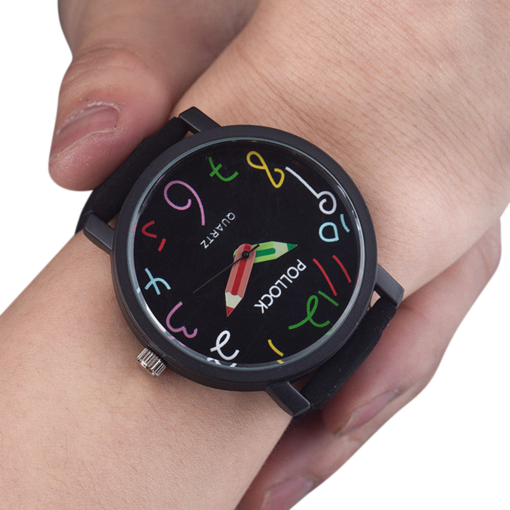 Unisex PU Watchband Stylish Quartz Watch with Pencil Shape Pointer Frosted Wristwatch Ornament Gift