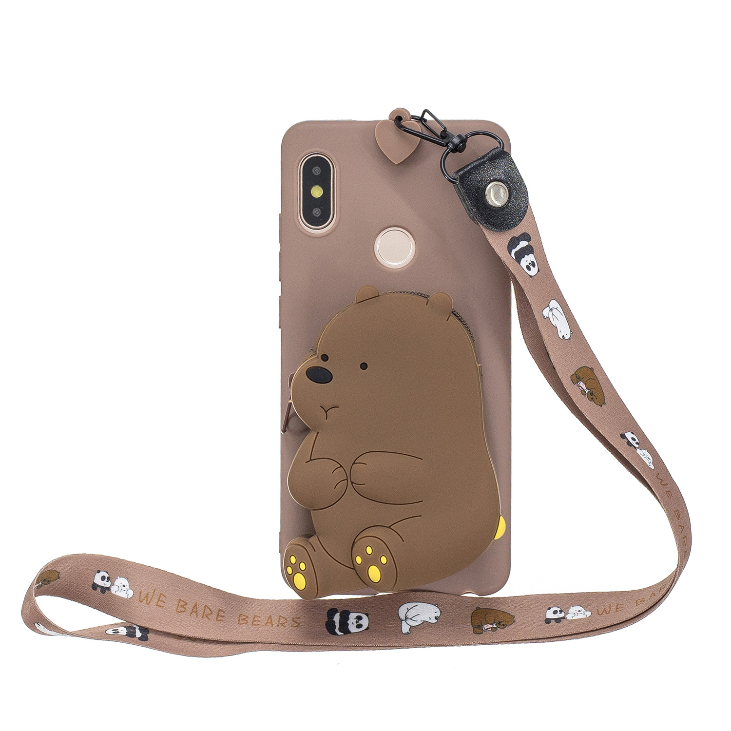 For HUAWEI Y6 2019 Y7 2019 Y9 2019 Cartoon Full Protective TPU Mobile Phone Cover with Mini Coin Purse+Cartoon Hanging Lanyard 7 brown brown bear