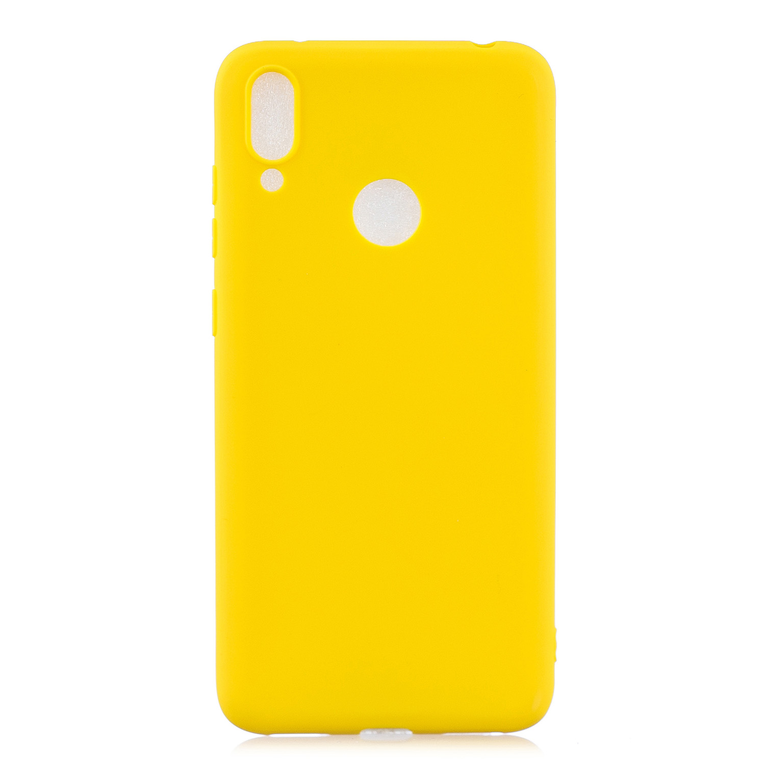 For HUAWEI Y7 2019 Lovely Candy Color Matte TPU Anti-scratch Non-slip Protective Cover Back Case yellow
