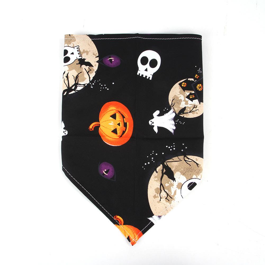 Pet Saliva Towel Pumpkin/Skull Printing Triangular Scarf for Cat Dogs Black skull
