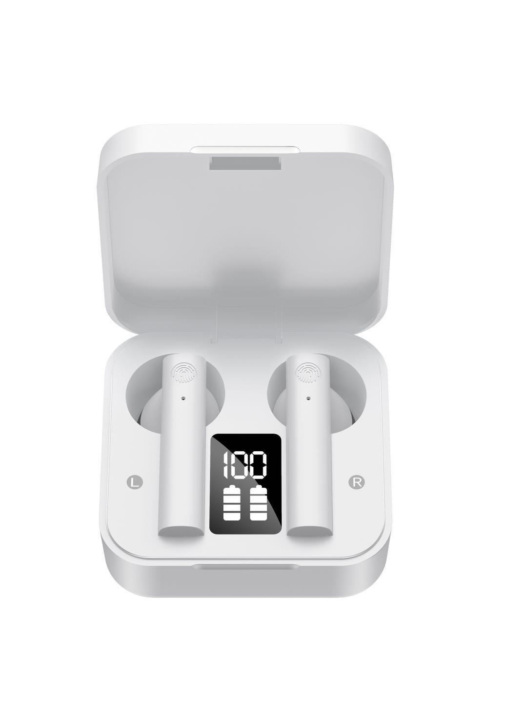 Air2S Bluetooth Headset Mini Wireless 5.1 Fingerprint Touch Earphones white