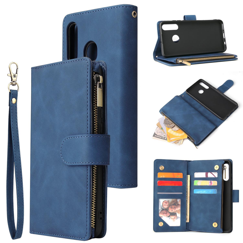 For HUAWEI P30 HUAWEI P30 lite HUAWEI P30 pro Multi-card Bracket Coin Wallet Zipper Mobile Phone PU Leather Phone Case  2 blue