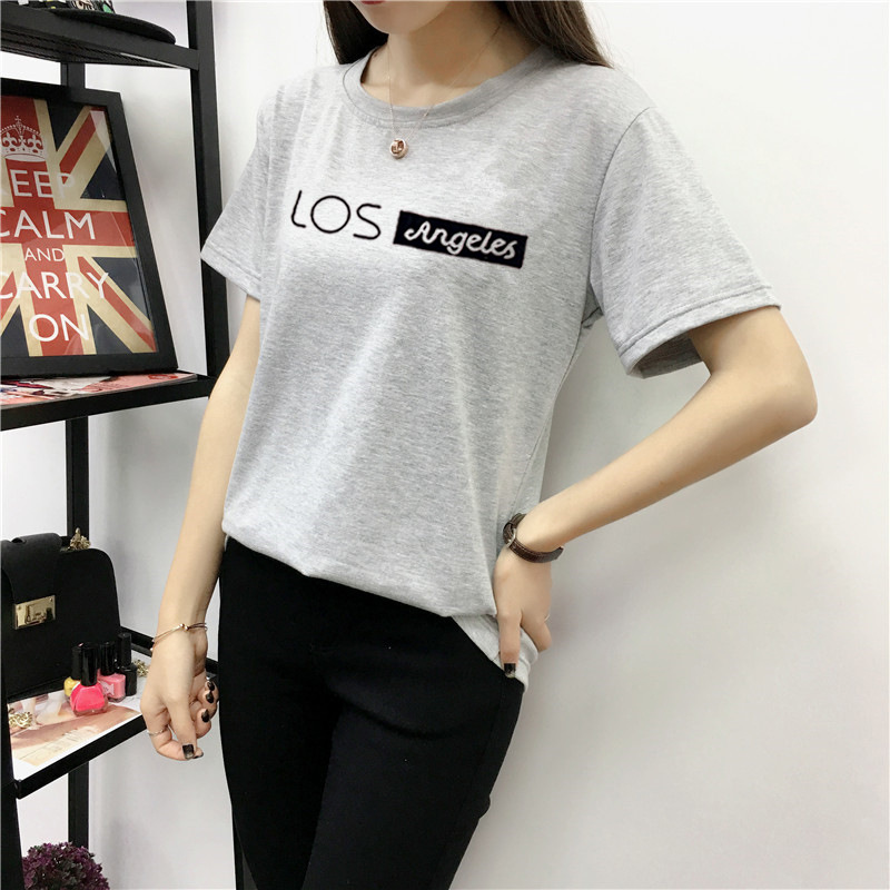 Women Summer Letters Printing Round Collar T shirt gray_XL