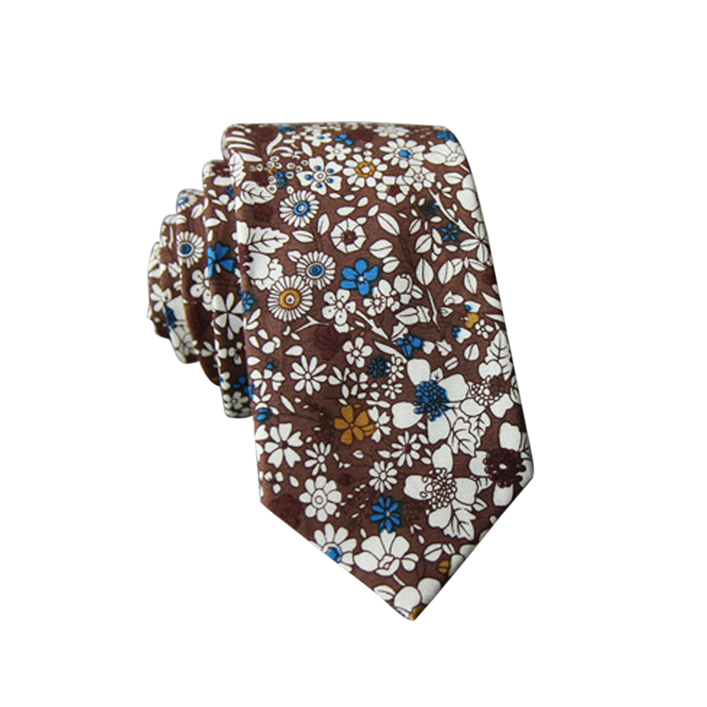 Men's Wedding Tie Floral Cotton Necktie Birthday Gifts for Man Wedding Party Business Cotton printing-045