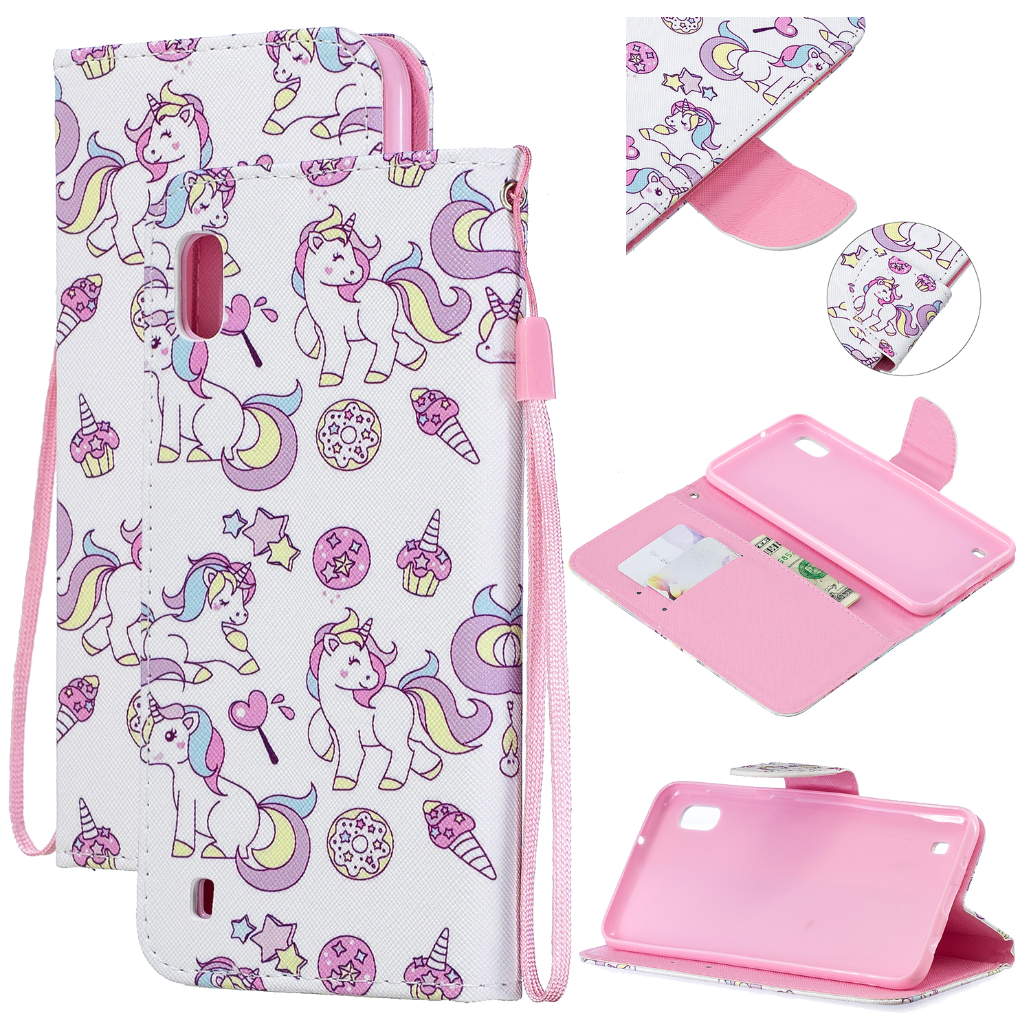 For Samsung A10/A20/A30 Smartphone Case PU Leather Wallet Design Cellphone Cover with Card Holder Stand Available Ice cream unicorn