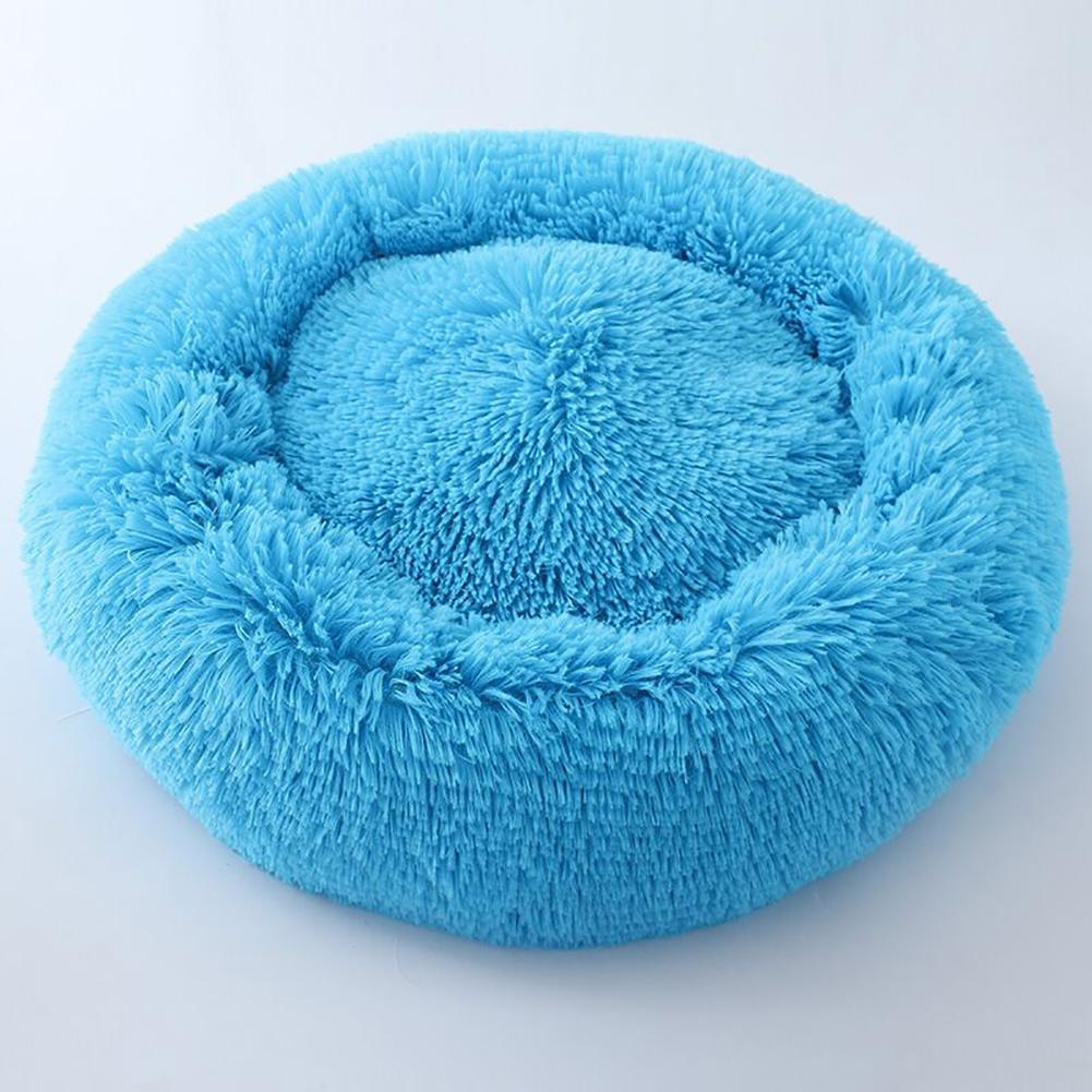 Cute Round  Macarons Shape Long Plush Pet Nest for Cat Dog Sleeping blue_large
