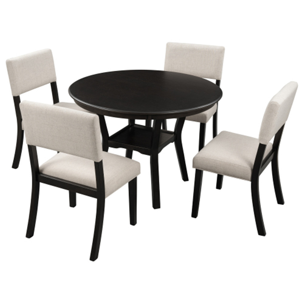 [US Direct] 5pcs/set Kitchen  Dining  Table Set Round Table With Bottom Shelf+4 Chairs With Cushion Off-white