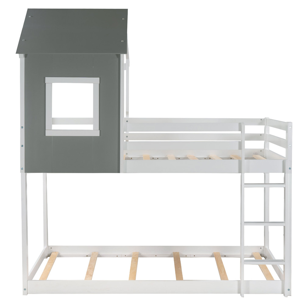 [US Direct] Low Bunk  Bed With Top Household Furniture For Living Room Dormitory gray