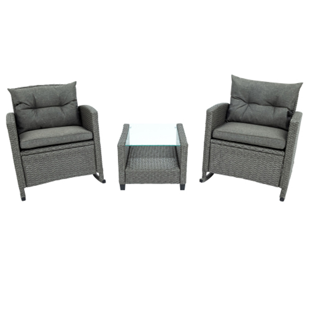 [US Direct] 3pcs/set Outdoor Patio Furniture  Set Coffee Table Chair With Cushion For Backyard Porch gray