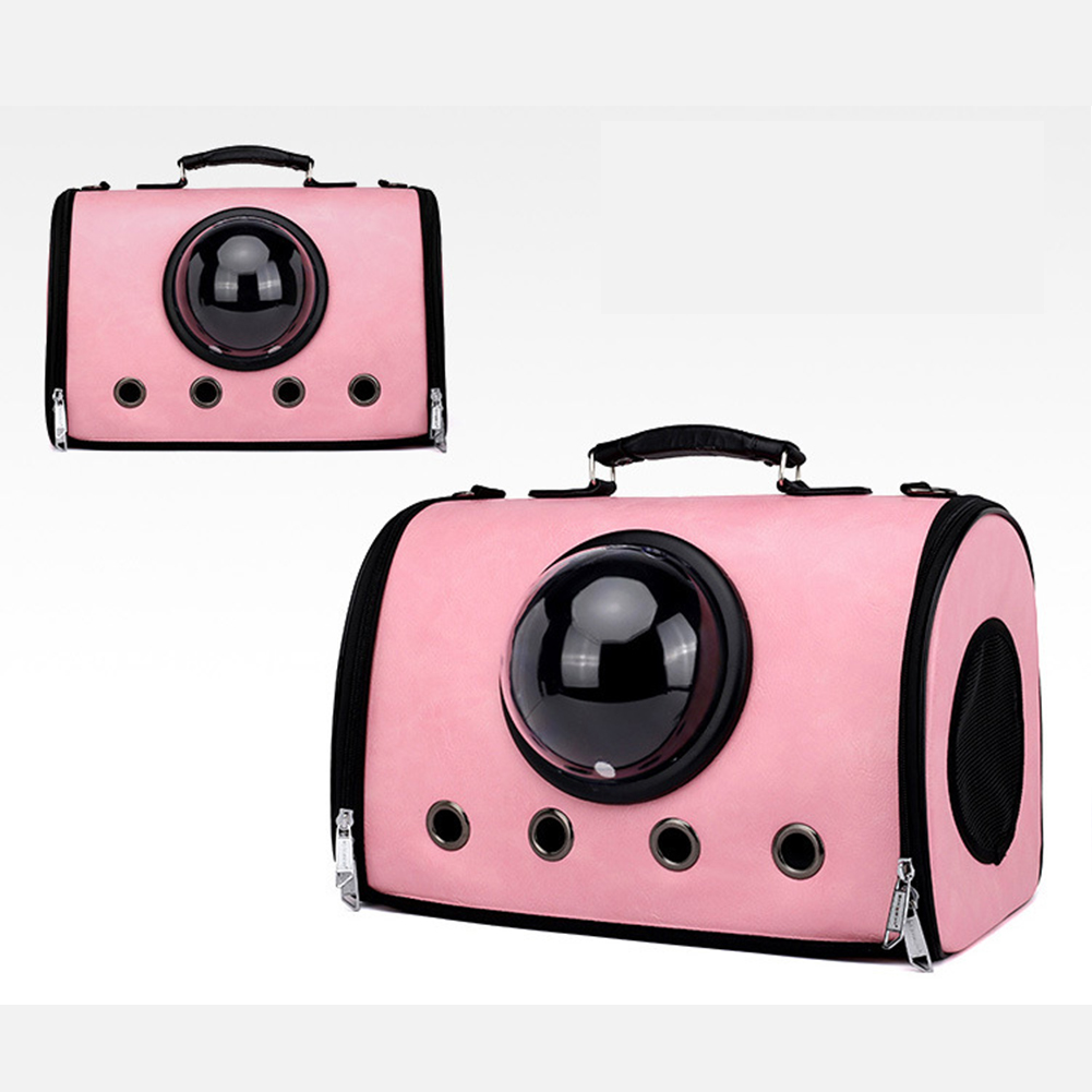 Folding Space Capsule Shoulders Bag with Breathable Holes for Pet Outdoor Backpack Cage  Pink
