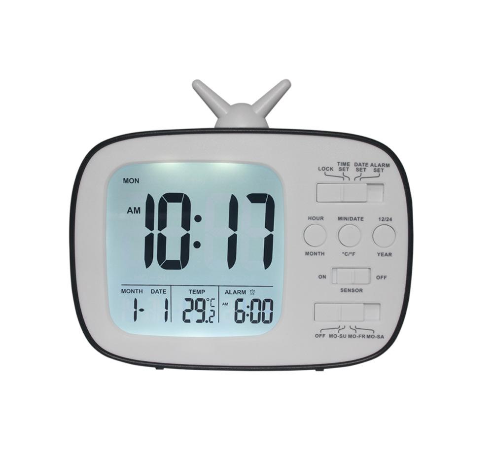 Children and Student LCD Electronic Bedside Light-sensitive Smart Alarm Clock G180 black