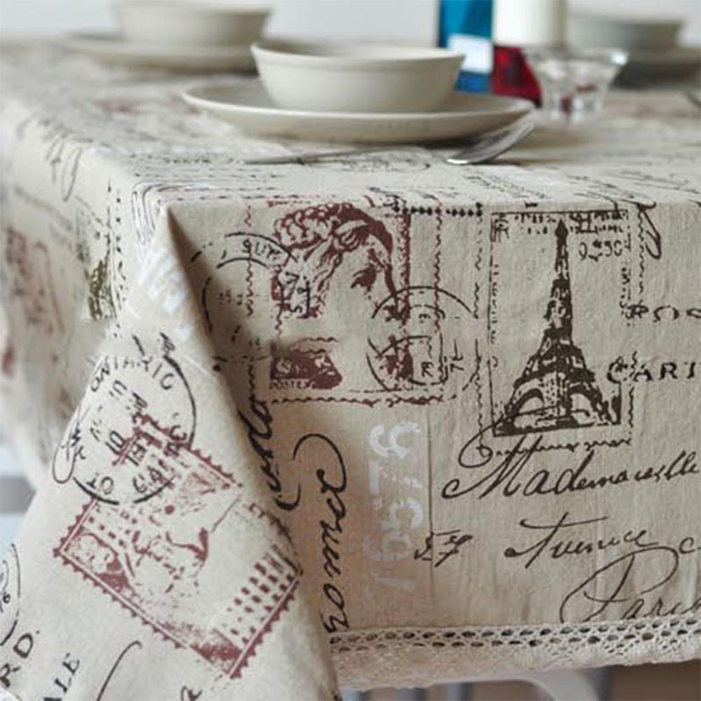 Tower Printing Decorative Table Cloth Cotton Linen Lace Tablecloth Dining Table Cover for Kitchen Home Decor Woman headband with lace_60*60