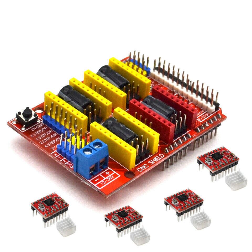 CNC Shield Board + A4988 Stepper Motor Driver for Arduino V3 Engraver 3D Printer red