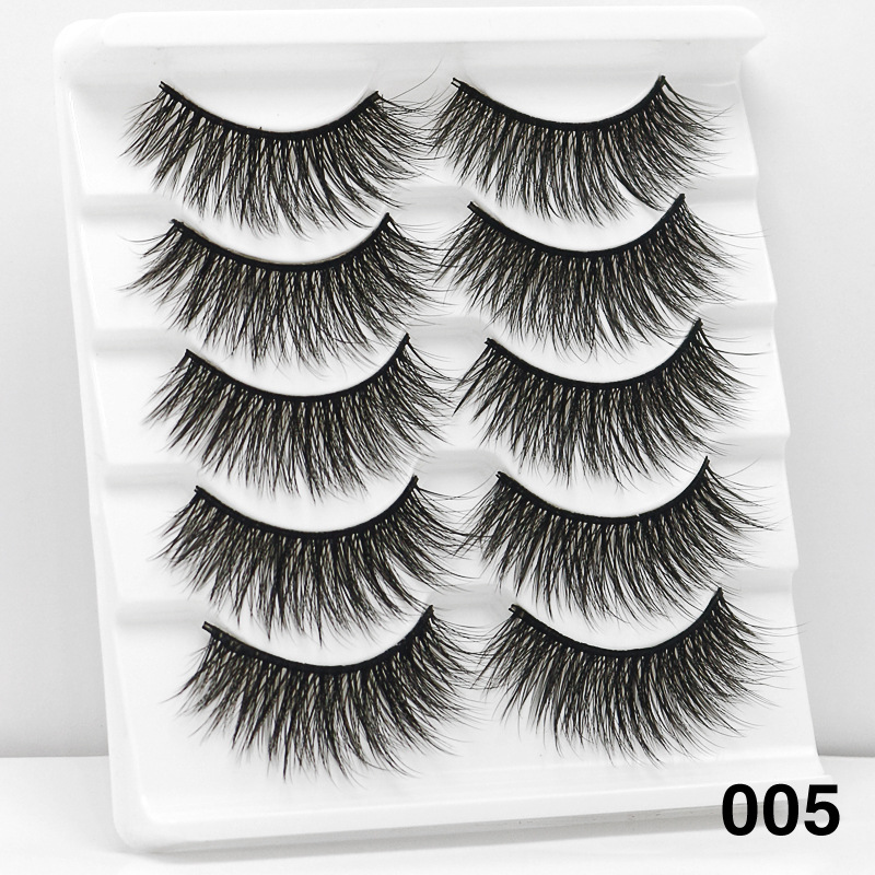 5Pairs 6D Mink Hair False Eyelashes Wispy Makeup Beauty Extension Tools 005