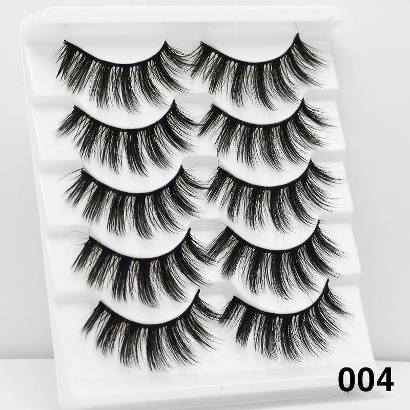 5Pairs 6D Mink Hair False Eyelashes Wispy Makeup Beauty Extension Tools 004