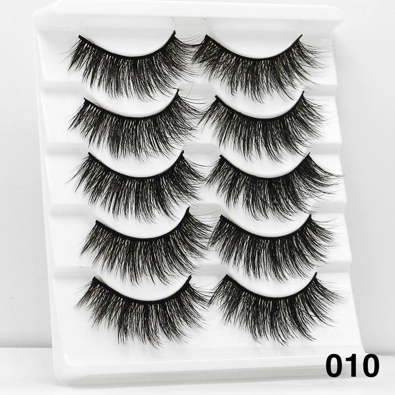 5Pairs 6D Mink Hair False Eyelashes Wispy Makeup Beauty Extension Tools 010
