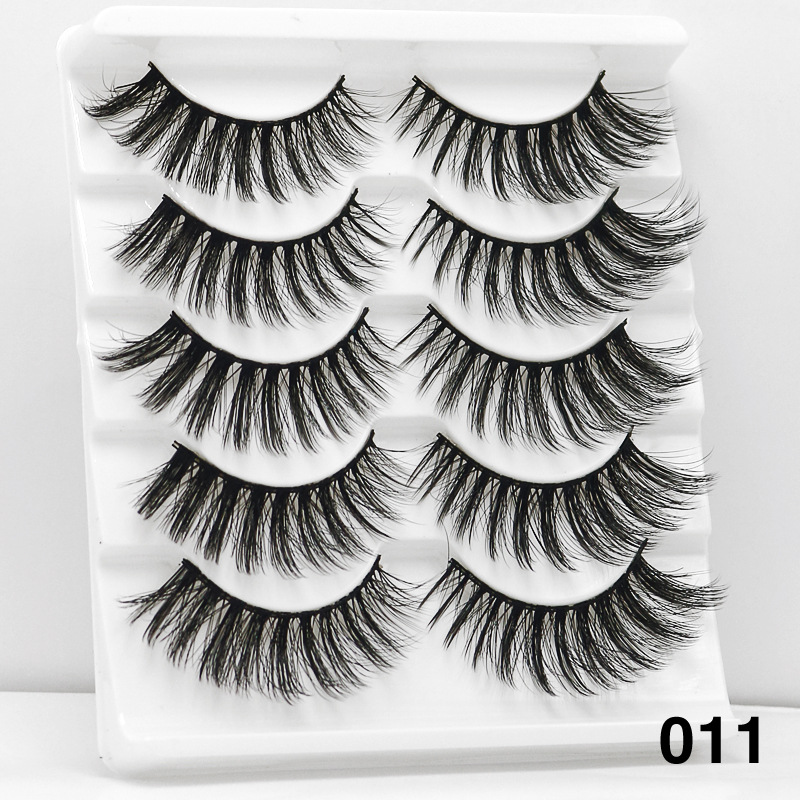5Pairs 6D Mink Hair False Eyelashes Wispy Makeup Beauty Extension Tools 011