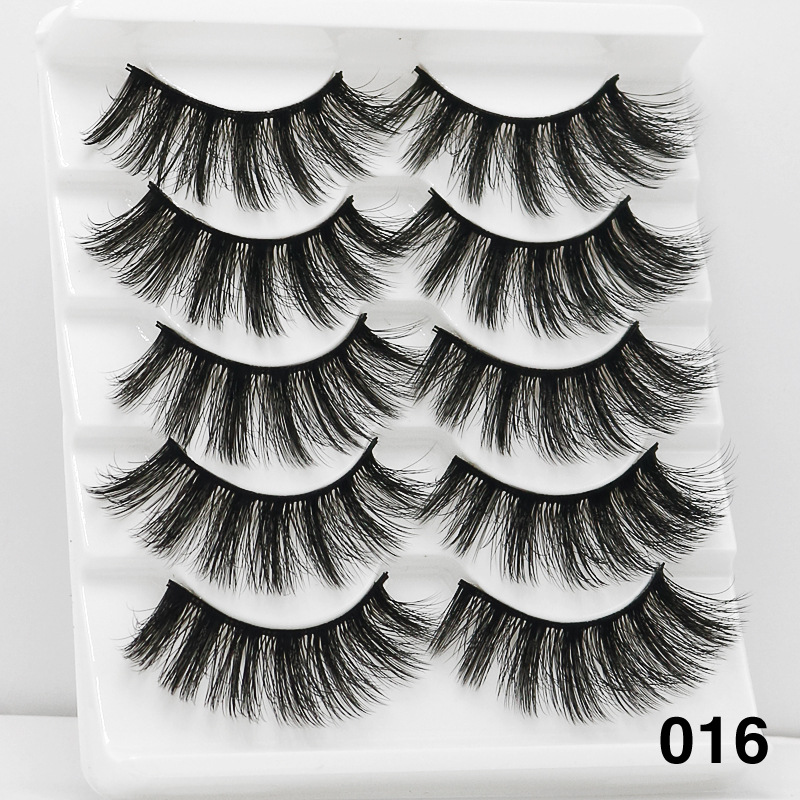5Pairs 6D Mink Hair False Eyelashes Wispy Makeup Beauty Extension Tools 016