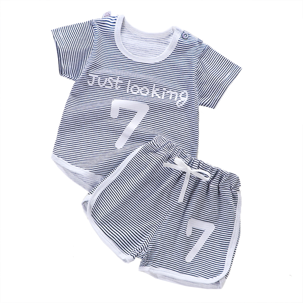 Children Unisex Short-sleeved Boys Girls Striped Cartoon T-shirt + Shorts Suit gray_110