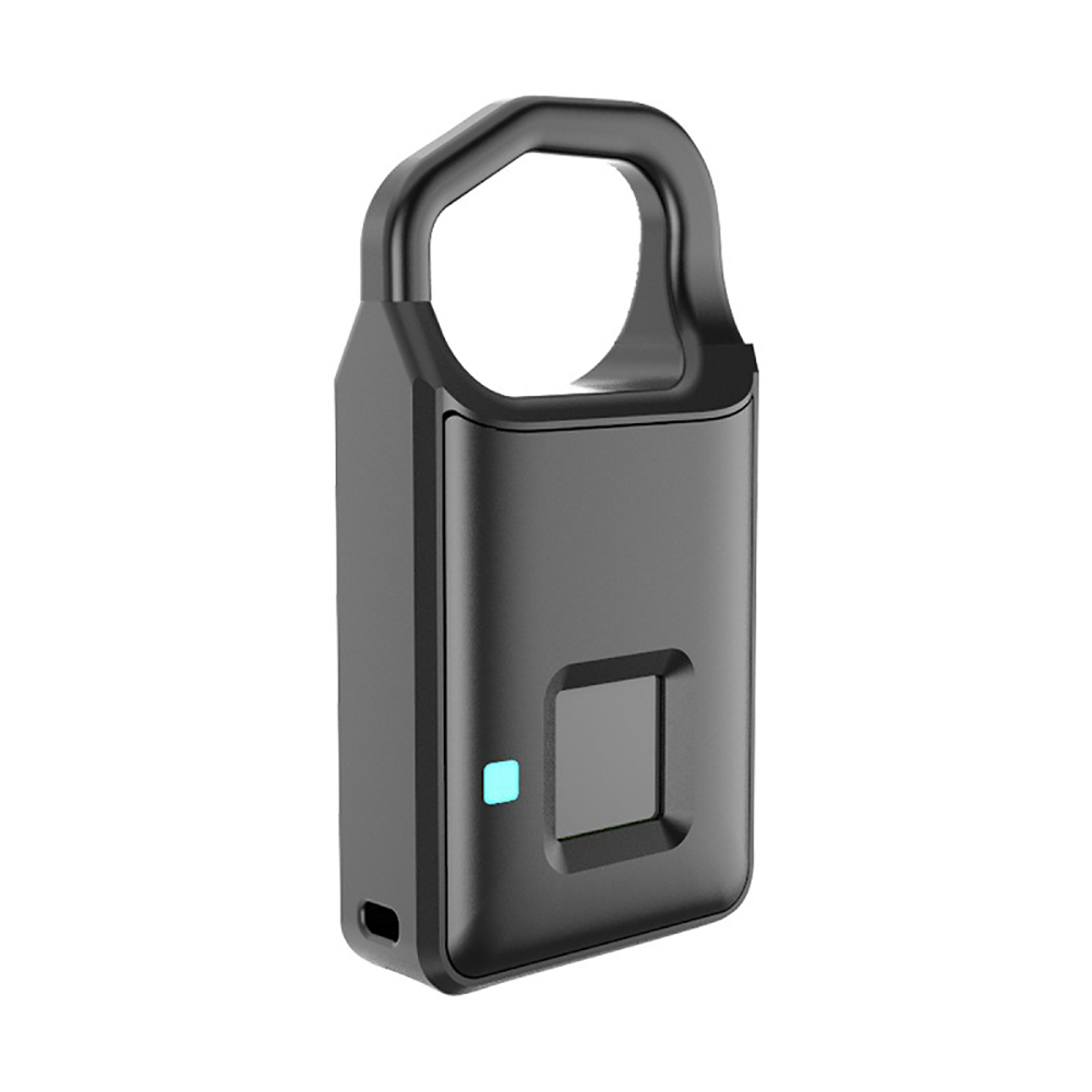 USB Rechargeable Smart Lock Fingerprint Lock IP66 Waterproof Anti-Theft Security Padlock Door Luggage Case Lock black