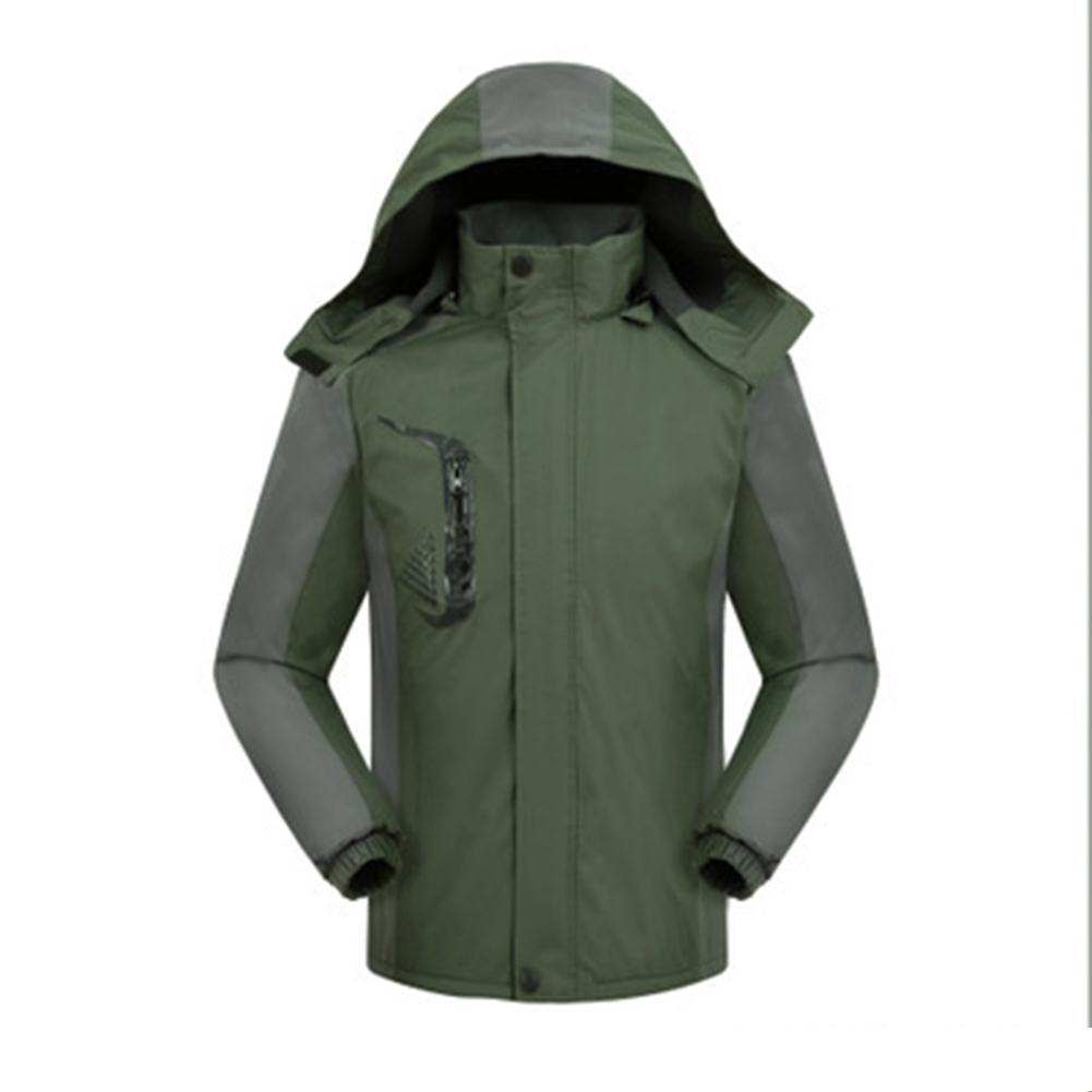 Men's and Women's Jackets Winter Velvet Thickening Windproof and Rainproof Mountaineering Clothes olive Green_4XL