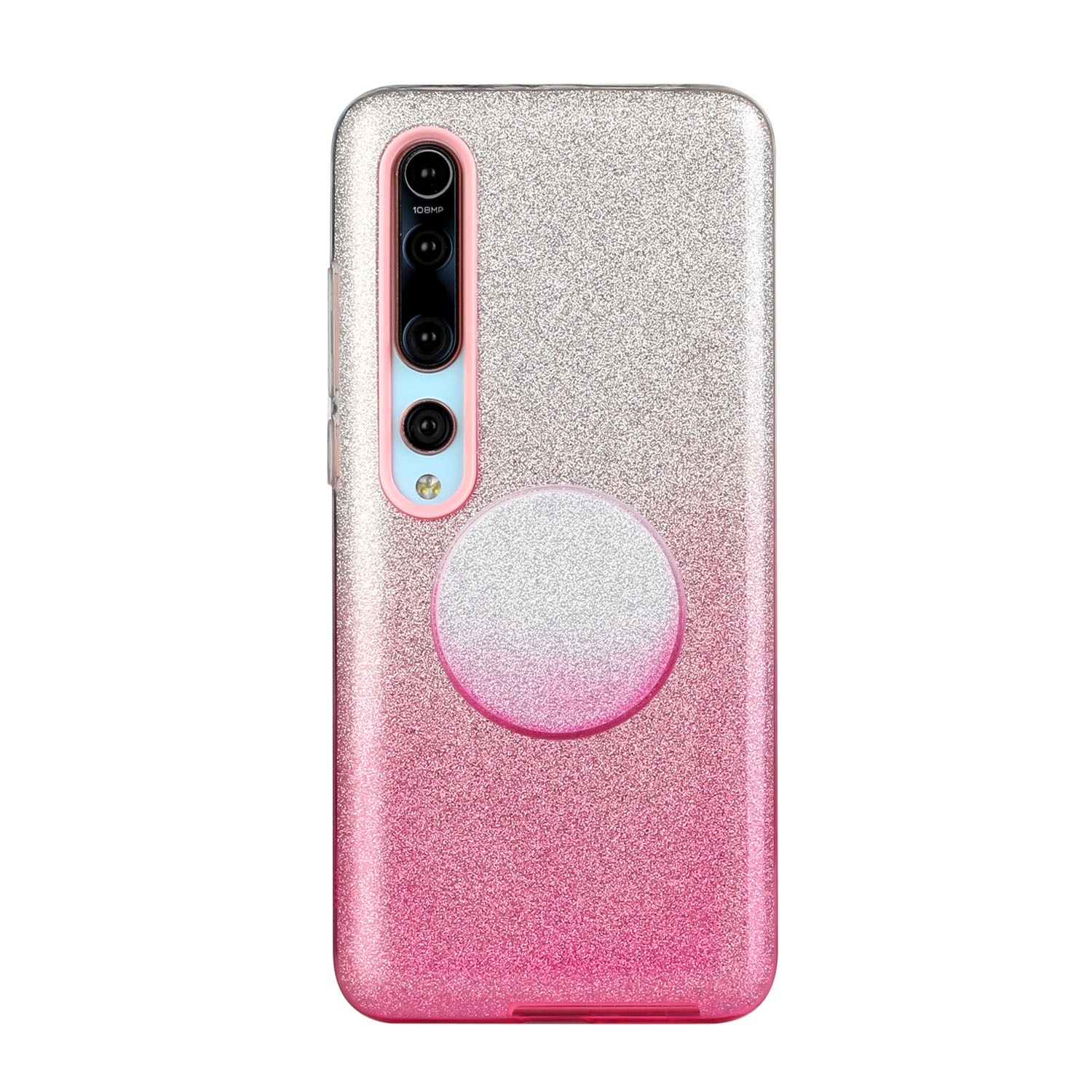 For XIAOMI CC9E/A3/10/10 PRO/K20/K20 pro Phone Case Gradient Color Glitter Powder Phone Cover with Airbag Bracket Pink