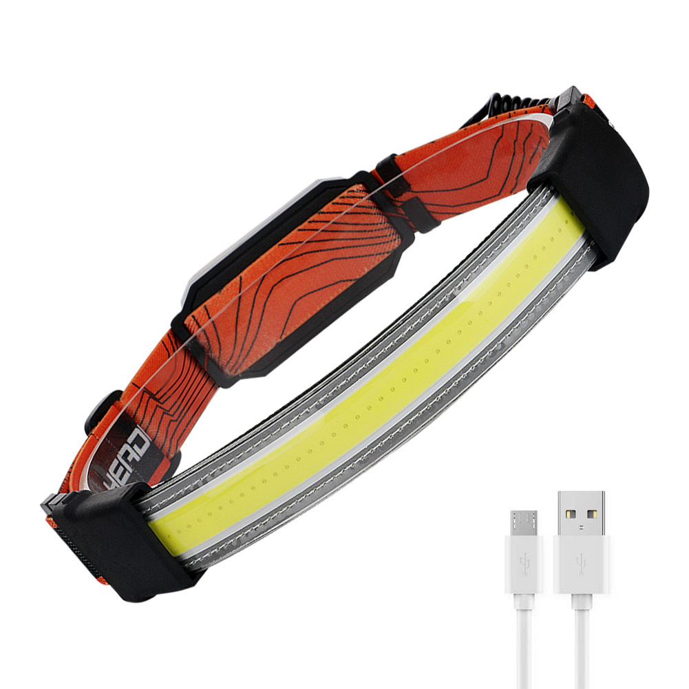 Usb Rechargeable Night  Light Rechargeable Cob Headlight Red Light Warning Lamp as picture show