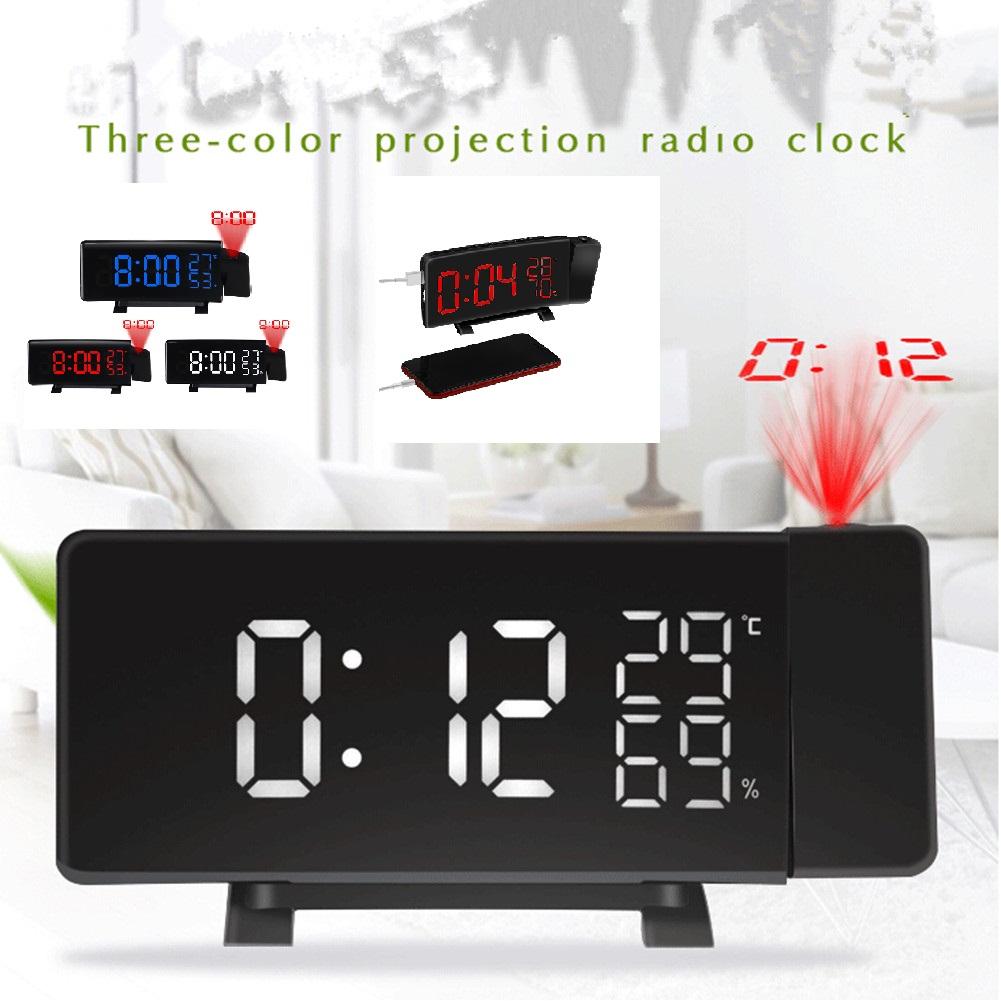 3Colors LED Digital Projector Radio FM Alarm Clock black