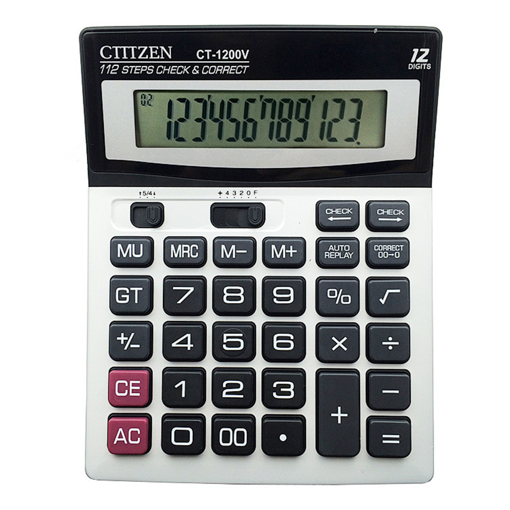 Solar Calculator 12 - Digits  Display CT-1200V Desktop Electronic Calculator CT-1200V