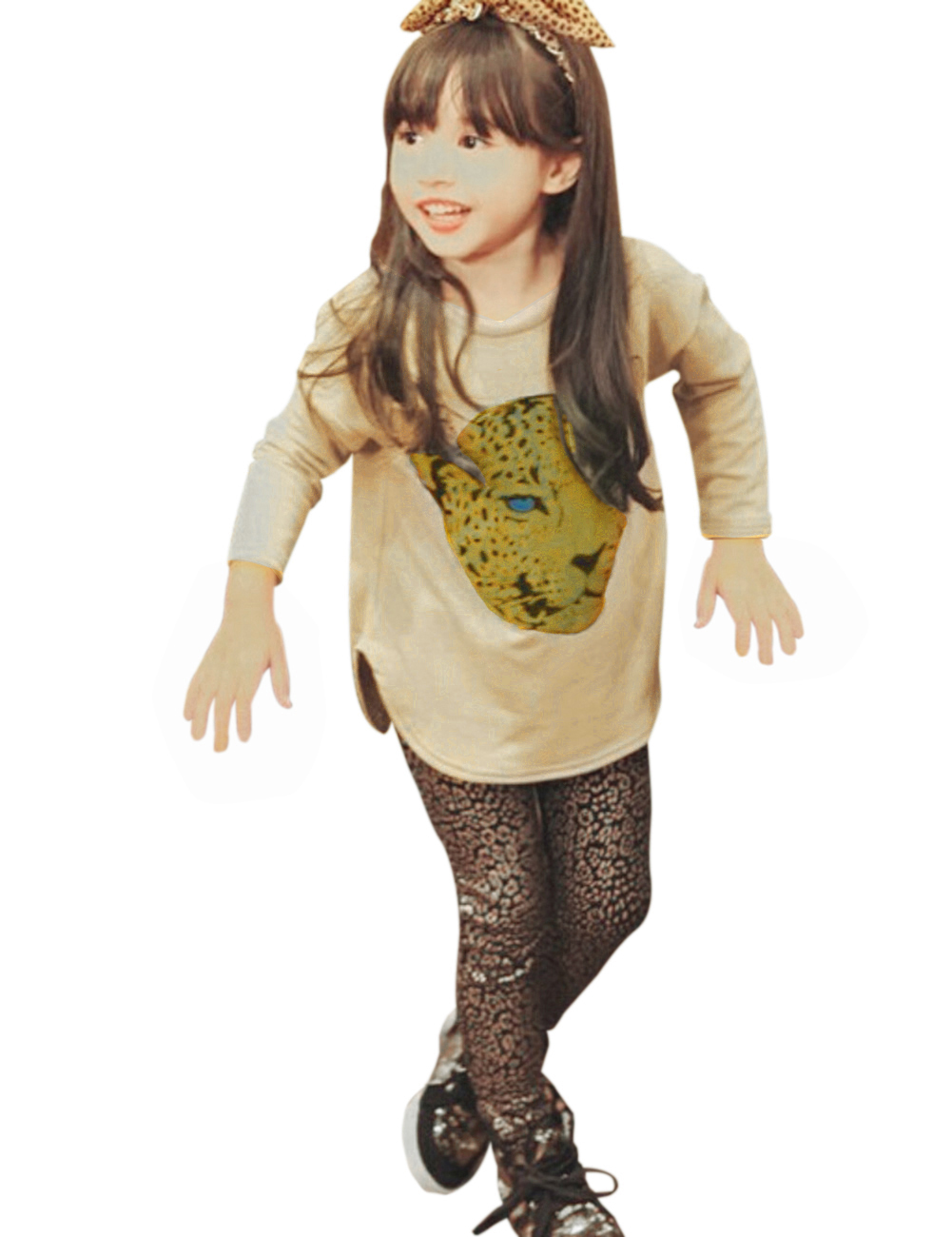 Round Neck T-shirt Leopard Print Skinny Pants Clothing Sets for Girls Khaki_150cm