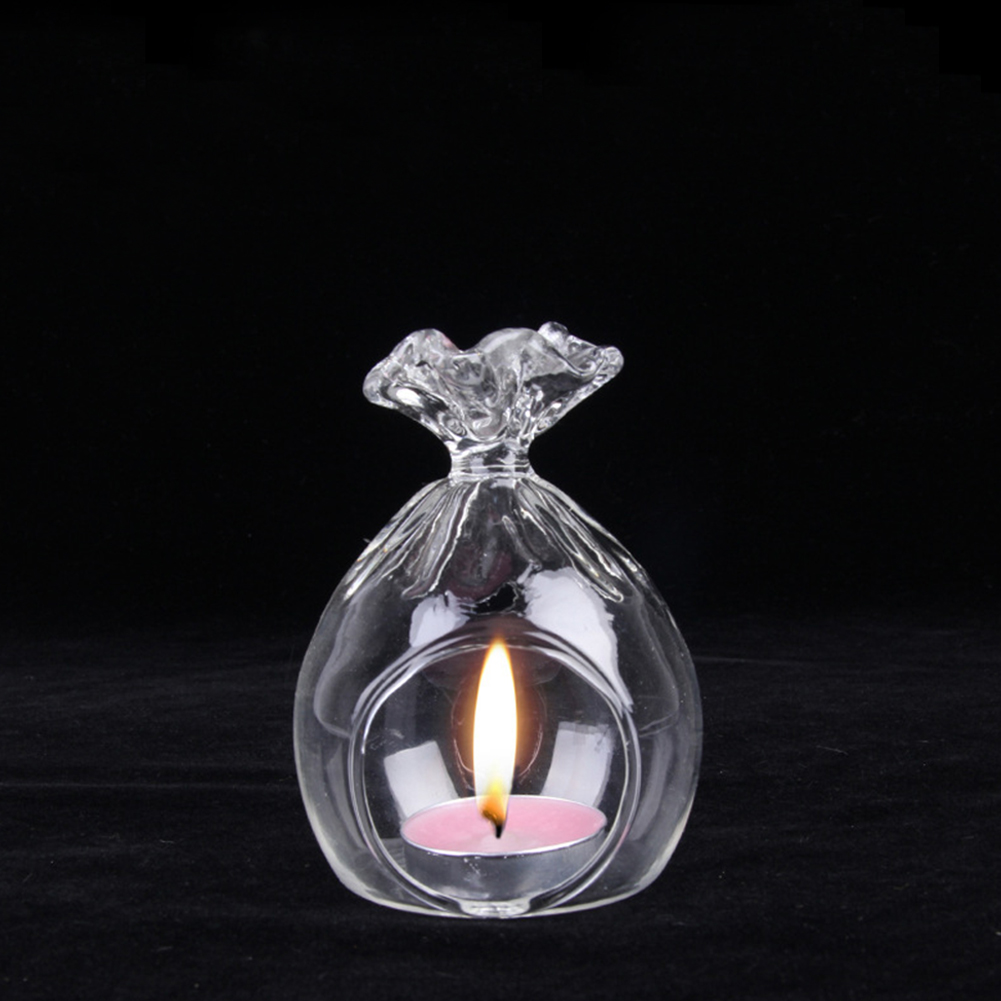Romantic Christmas Lucky Bag Crystal-like Glass Candle Holder Heat-resistant Candlestick Home Party Bar Decoration