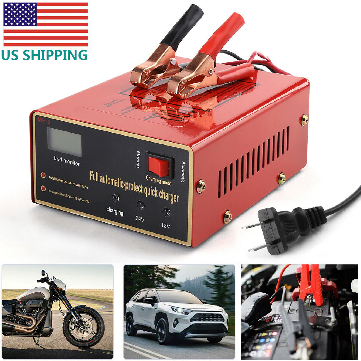 Maintenance-free Battery  Charger 12v/24v 10a 140w Output For Electric Car US Plug