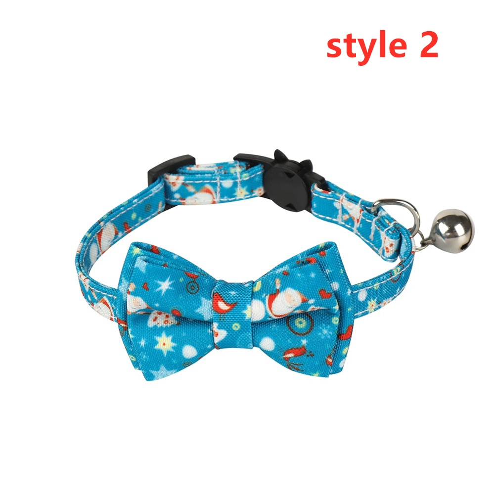 Cat Collar with Bow Tie Christmas Santa Claus Patterns Adjustable Kitten Collars with Bell Style 2_S 1.0*28cm