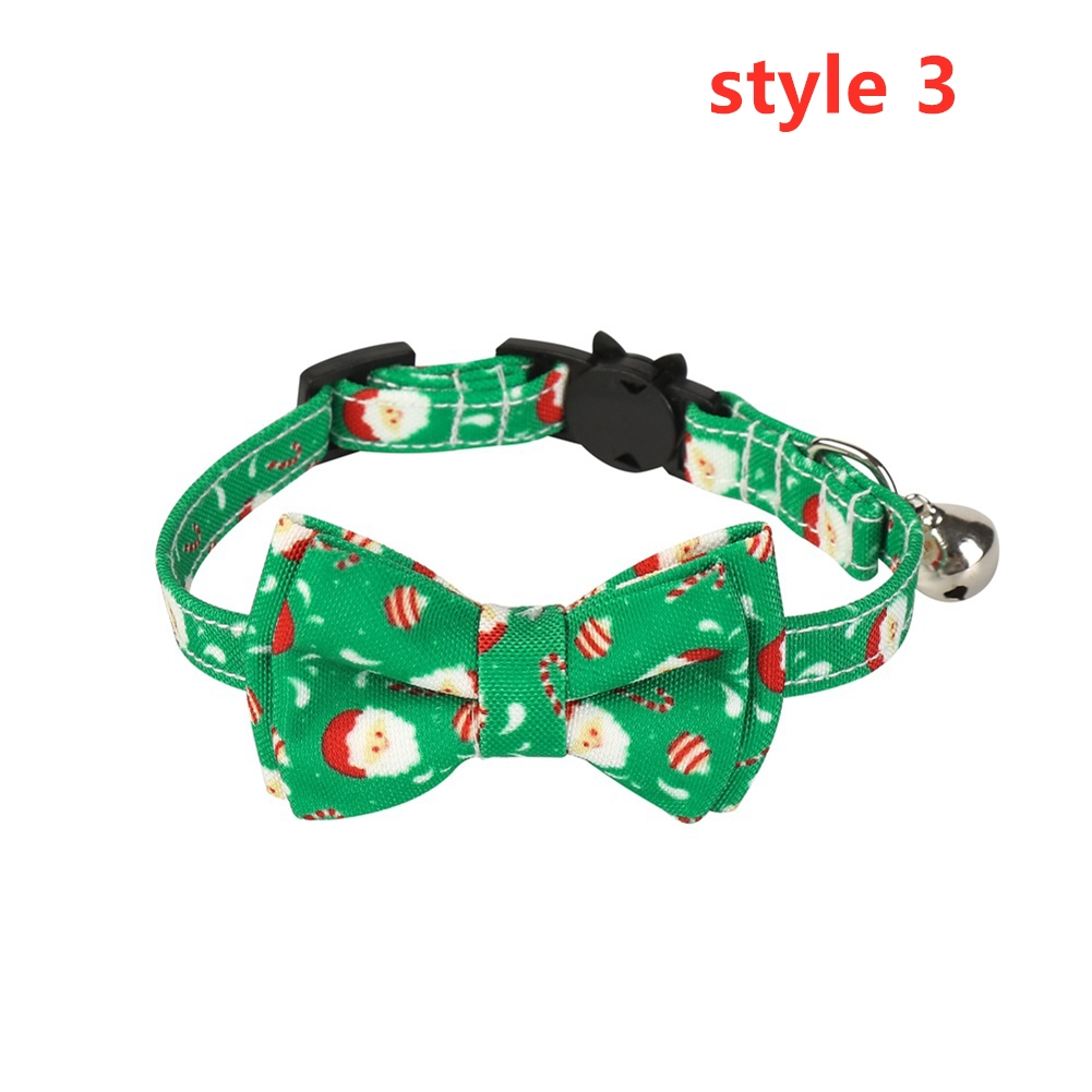 Cat Collar with Bow Tie Christmas Santa Claus Patterns Adjustable Kitten Collars with Bell Style 3_S 1.0*28cm