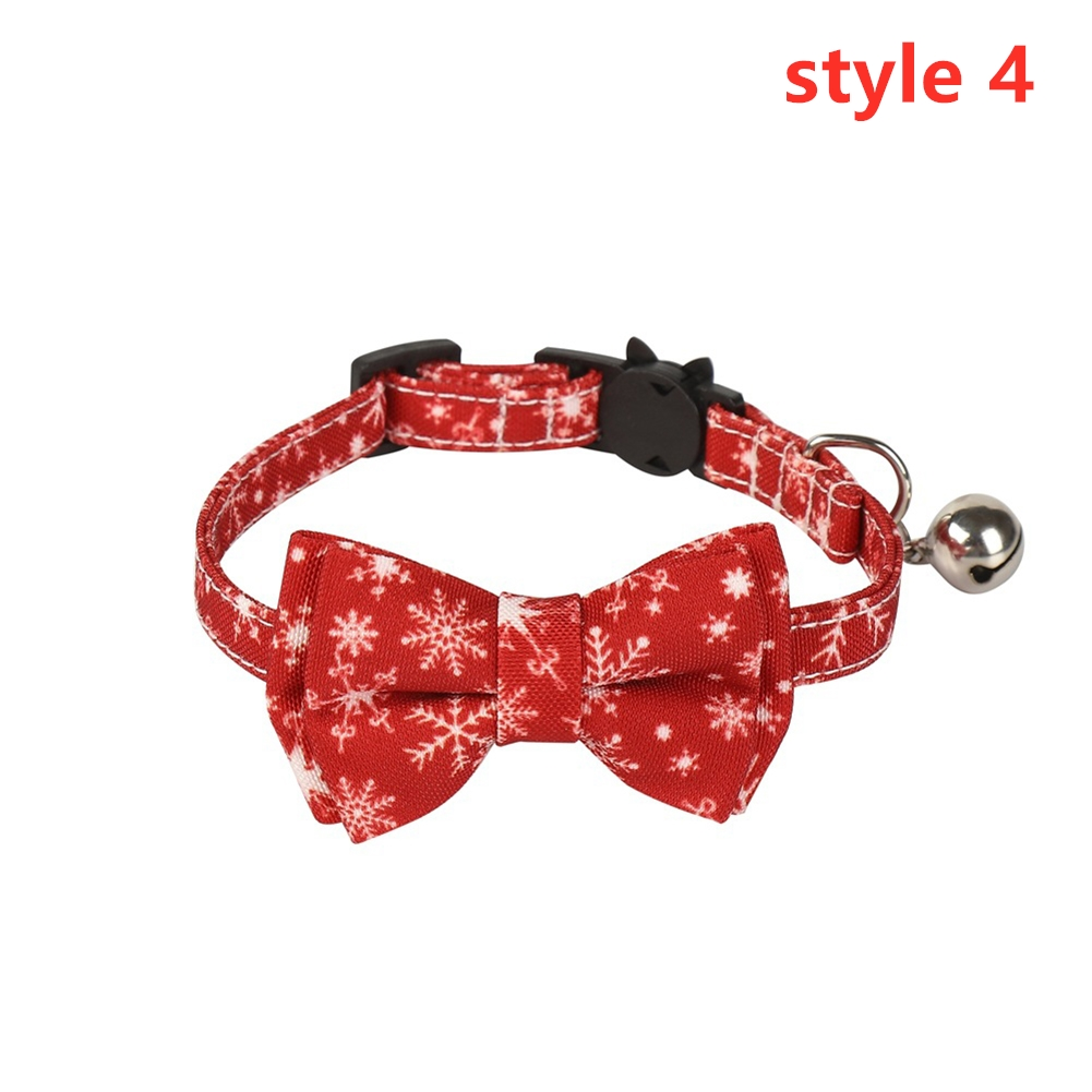 Cat Collar with Bow Tie Christmas Santa Claus Patterns Adjustable Kitten Collars with Bell Style 4_S 1.0*28cm