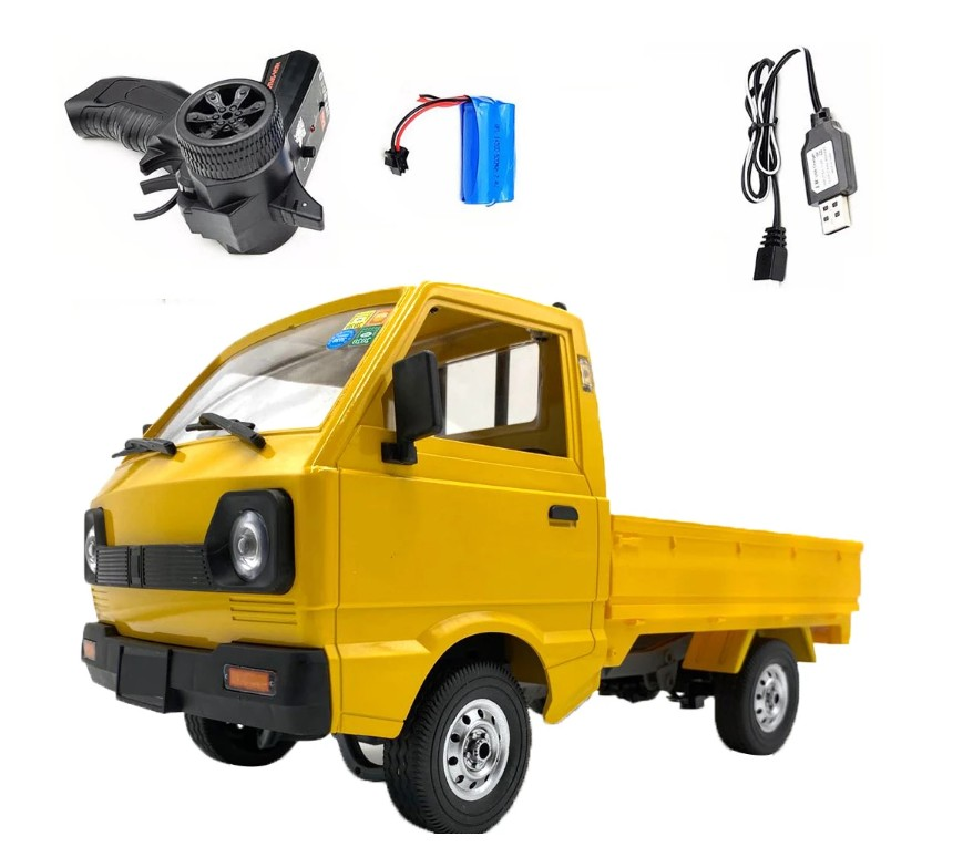 WPL D12 1/10 2.4G 2WDTruck Crawler Off Road RC Car Vehicle Models Toy Yellow 2 battery