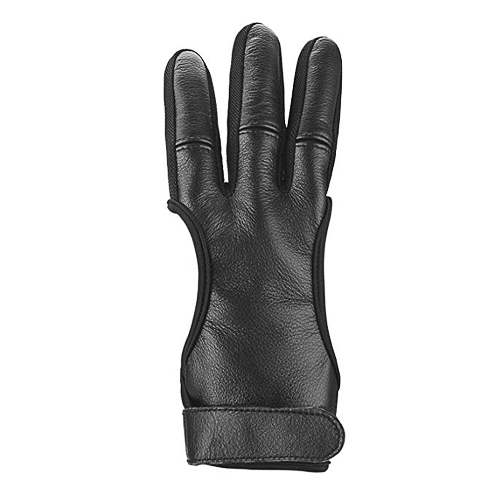 Archery Shooting Gloves Three Finger Protective Archery Gloves black_M