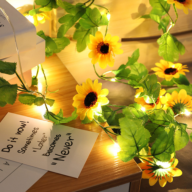 Artificial Sunflower Led String Light for Home Wedding Party Bedroom Decor