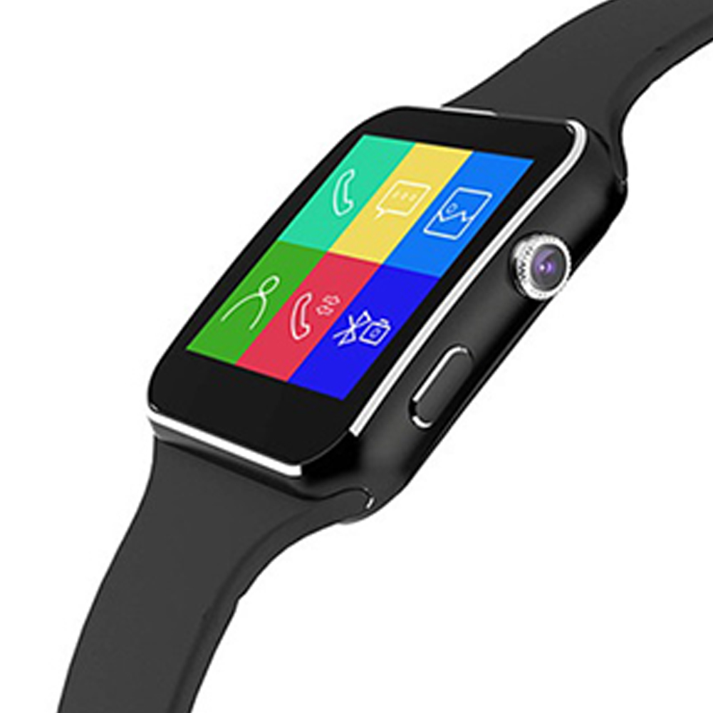 New X6 Curved Screen Smart Watch Card Internet Bluetooth Camera Phone Wristwatch English black